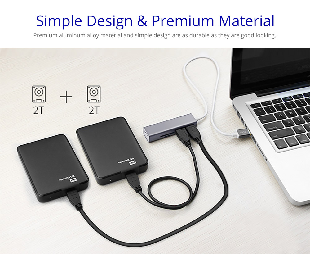 Multipurpose Portable 5 in 1 USB Hub with 4K Adapter, 2 USB 3.0 ports, 1 SD Memory port, 1 Micro SD Card Reader for MacBook Pro 2017/2016, Huawei MateBook, Google Chromebook Pixel and More 6
