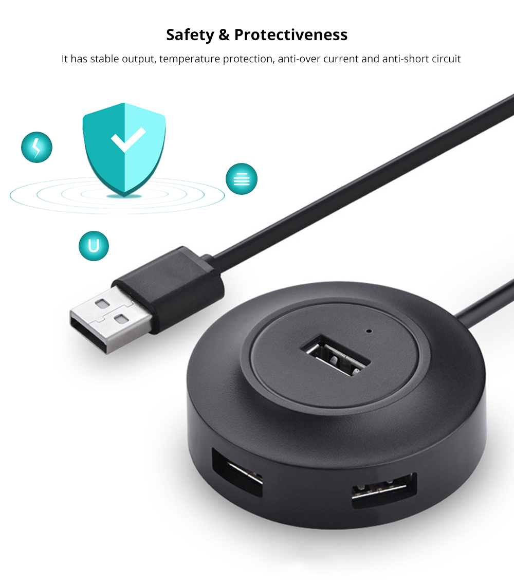 Multipurpose Portable 4 in 1 USB Hub, Round Extendable 2.0 USB 4-ports Adapter Compatible for Keyboard, Android or iOS USB Cables 9