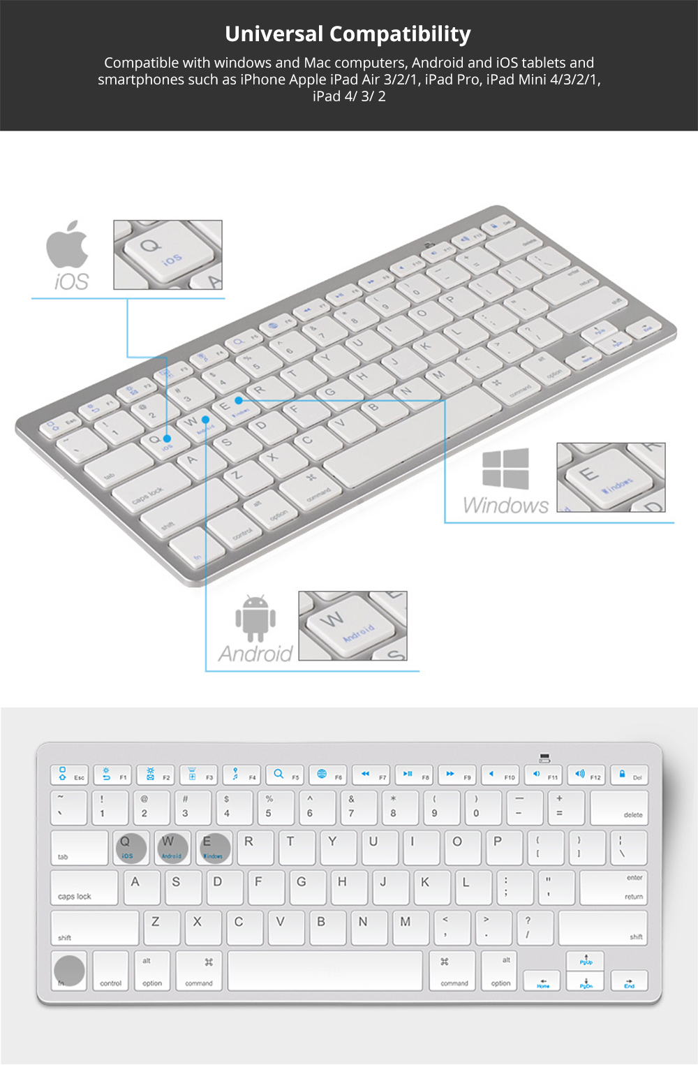 Universal Ultra-slim Bluetooth Keyboard Portable Wireless Bluetooth Keyboard for Apple iPad Air 3/2/1, iPad Pro, iPad Mini 4/3/2/1, iPad 4/ 3/ 2, iPhone, Windows and Mac Computers, Android and iOS Tablets and Smartphones Available 7