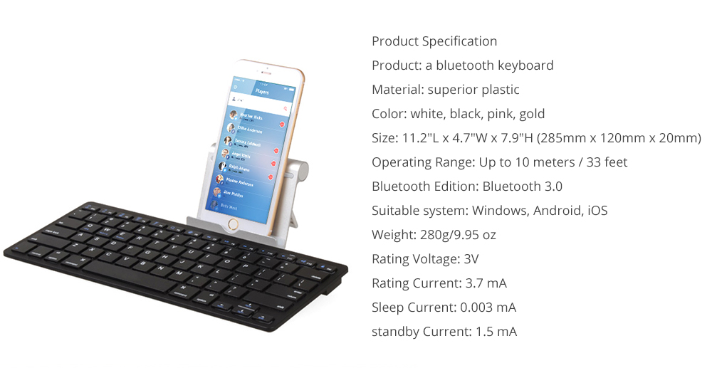 Universal Ultra-slim Bluetooth Keyboard Portable Wireless Bluetooth Keyboard for Apple iPad Air 3/2/1, iPad Pro, iPad Mini 4/3/2/1, iPad 4/ 3/ 2, iPhone, Windows and Mac Computers, Android and iOS Tablets and Smartphones Available 12