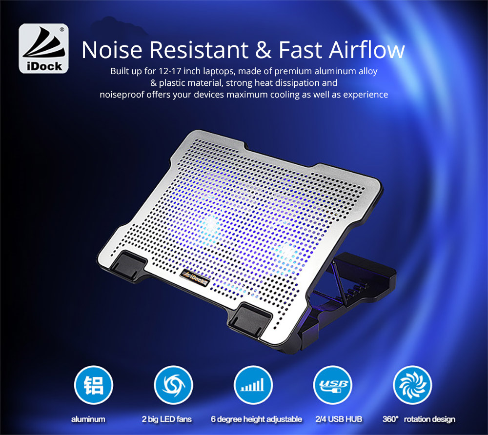Universal Stand View Adjustable Angle Laptop Noiseproof LED Fans Cooler Pad, Portable Heat Emission Notebook Cooler Temperature Sensor for 12-17 inch Laptop Accessories 4