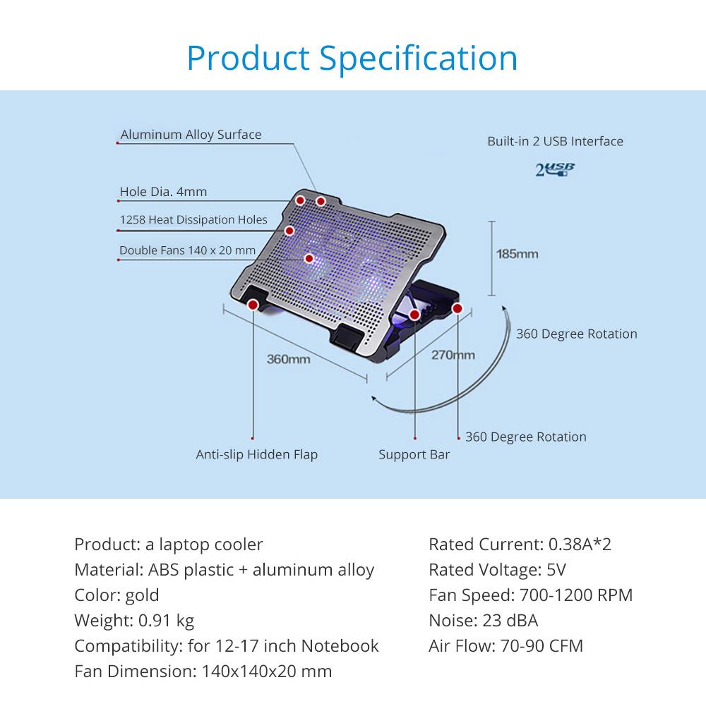 Adjustable Angle Laptop Noiseproof LED Fans Cooler Pad