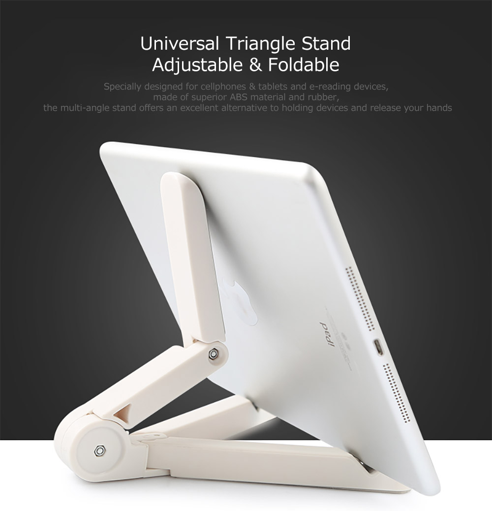 Adjustable Triangle Cellphone Tablet Holder, Foldable Multi-angle Stand for Tablet, iPad Mini, iPad Pro, iPad Air, Kindle, Phone X/XS/MAX 8/Plus, Galaxy S9/S9 Plus/S8/S7 6