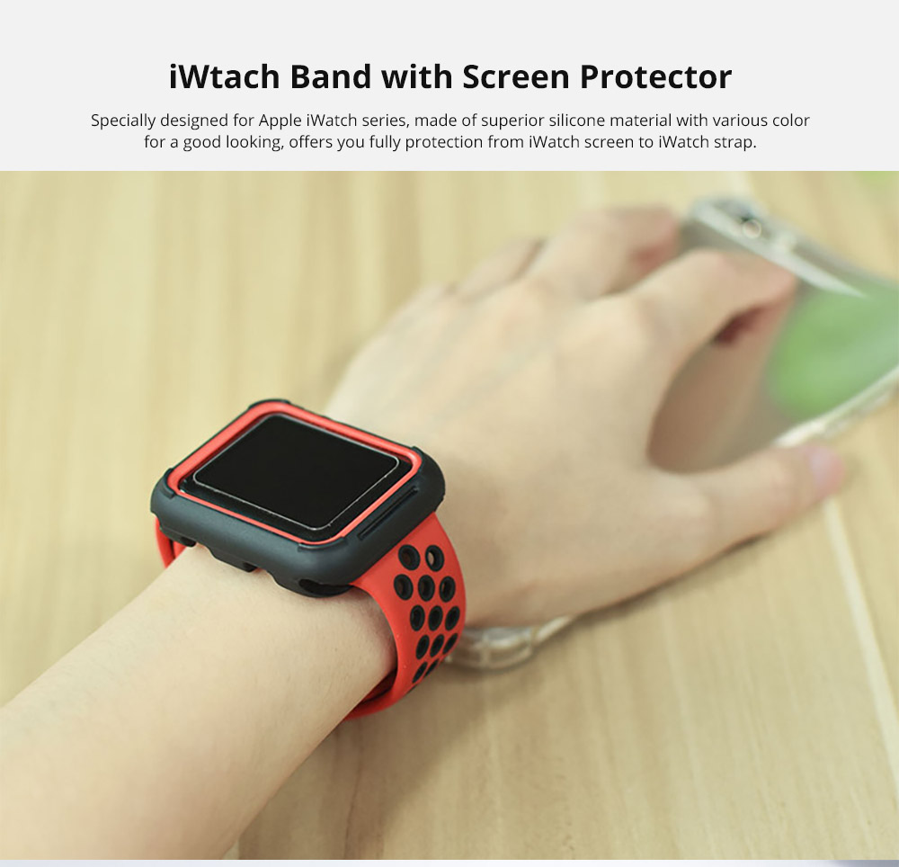 Superior Silicone Watch Band with Protective Screen Case for Apple iWatch Breathable Replacement Strap with Screen Protector 38mm 42mm  5