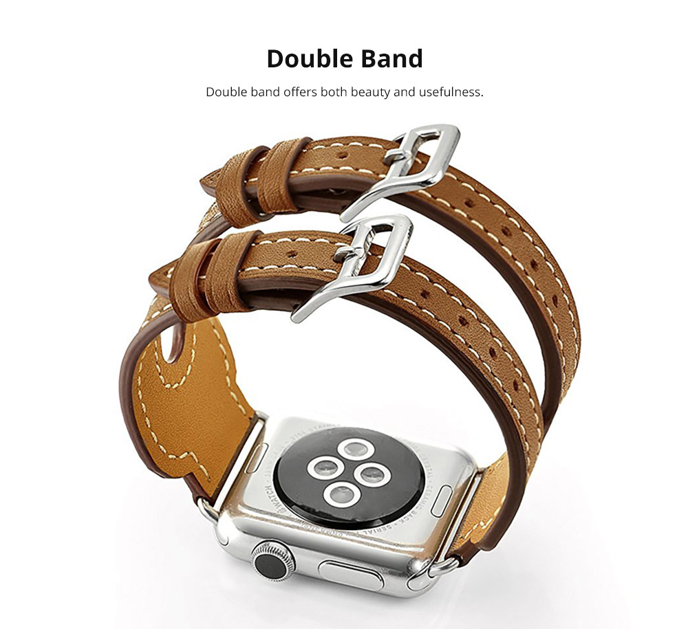 Retro Genuine Leather Double Watch Band with Double Stainless Metal Buckle, Compatible with Apple iWatch 38mm 42mm 10