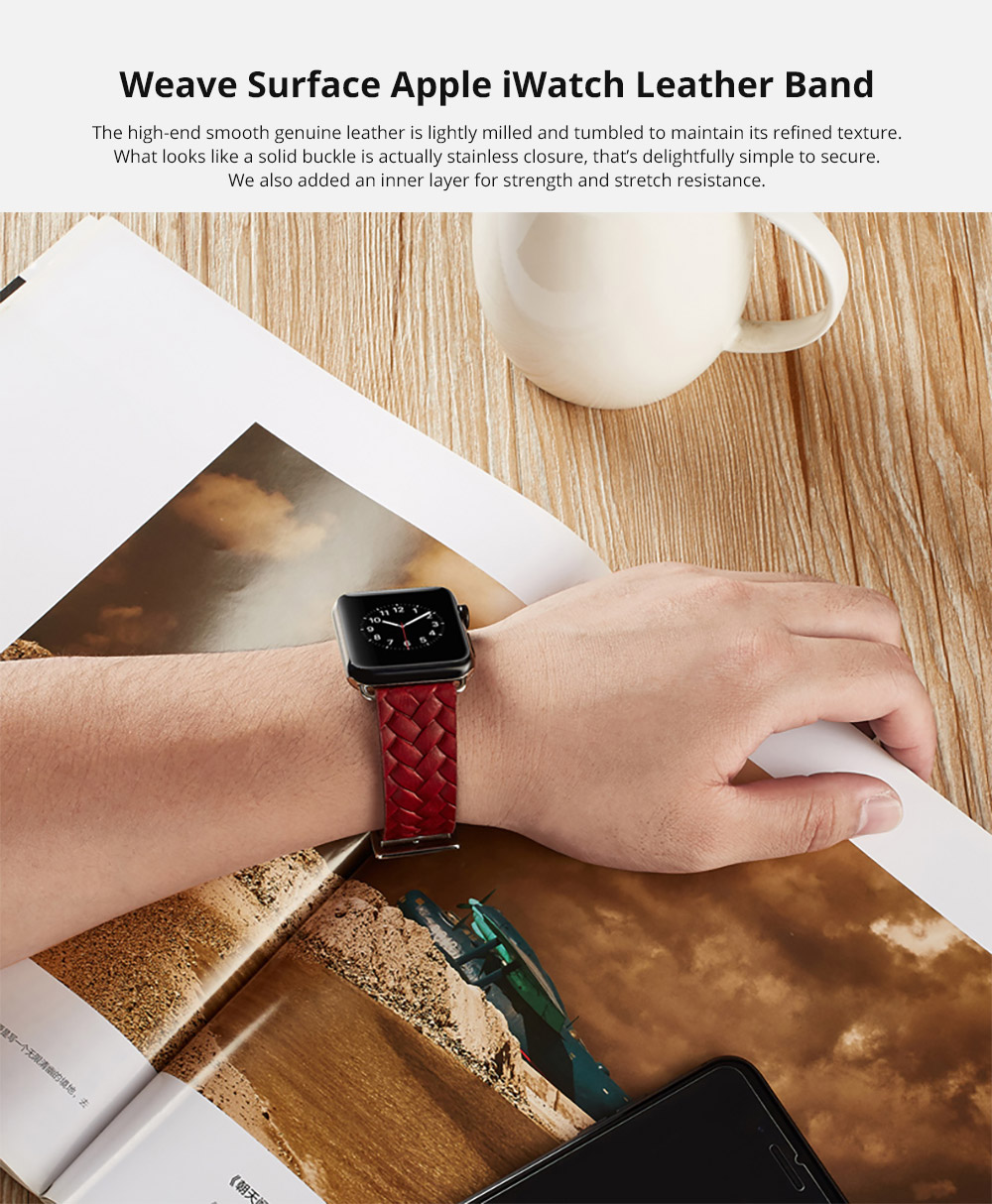 Genuine Leather Watch Band with Stainless Metal Buckle for Apple iWatch, Superior Weave Surface Real Leather iWatch Replacement Strap 38mm 42mm 6