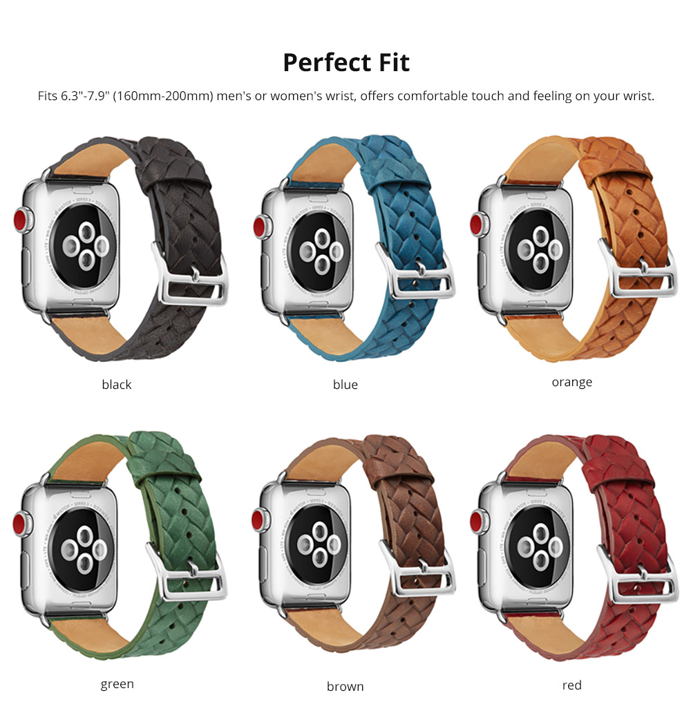 Genuine Leather Watch Band with Stainless Metal Buckle for Apple iWatch, Superior Weave Surface Real Leather iWatch Replacement Strap 38mm 42mm 7
