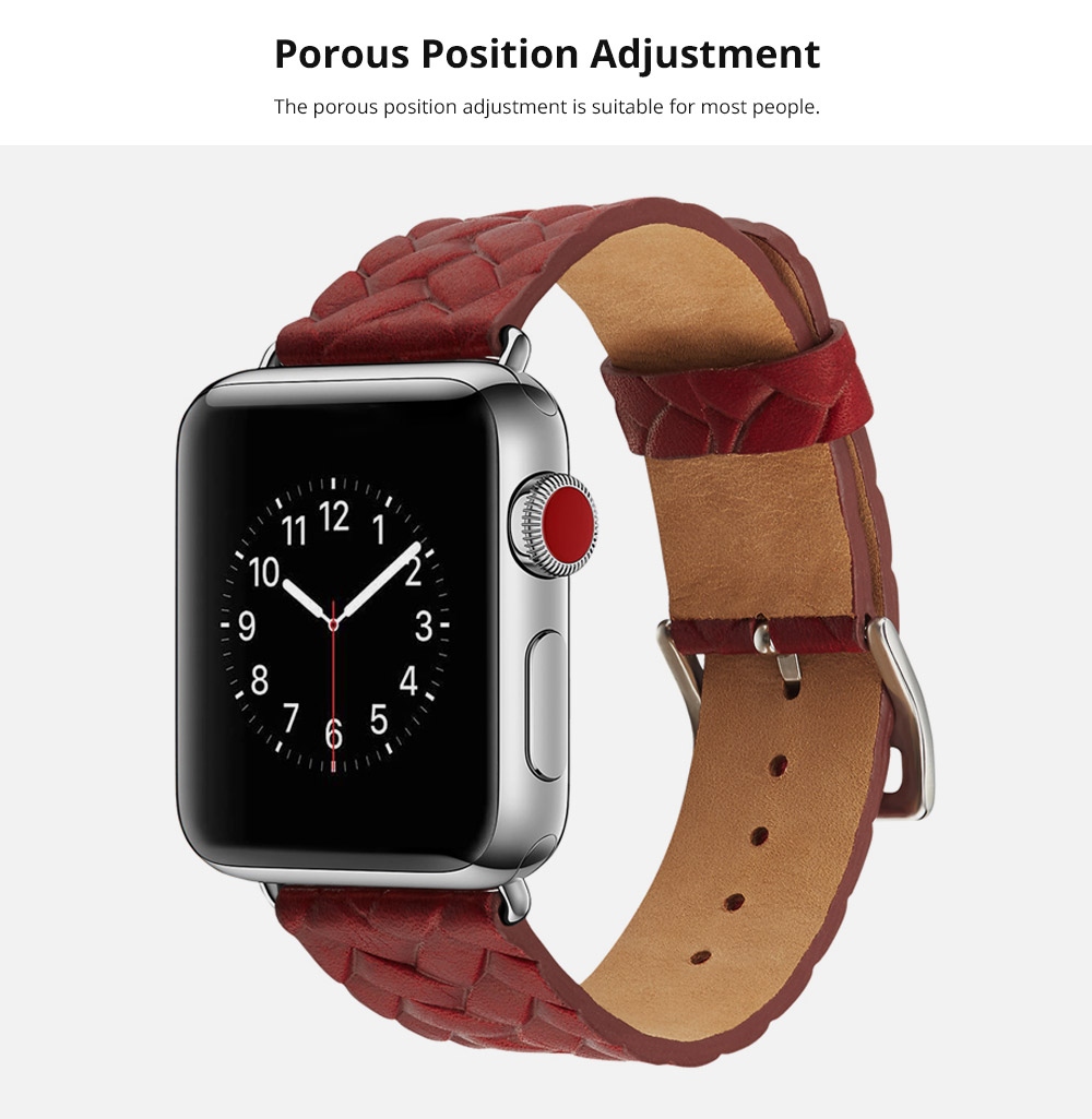 Genuine Leather Watch Band with Stainless Metal Buckle for Apple iWatch, Superior Weave Surface Real Leather iWatch Replacement Strap 38mm 42mm 8