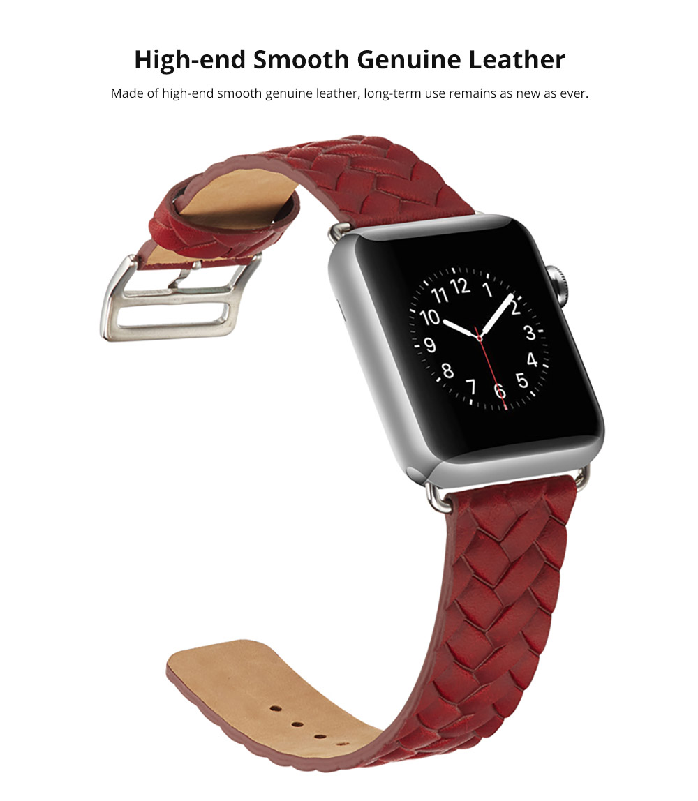 Genuine Leather Watch Band with Stainless Metal Buckle for Apple iWatch, Superior Weave Surface Real Leather iWatch Replacement Strap 38mm 42mm 9