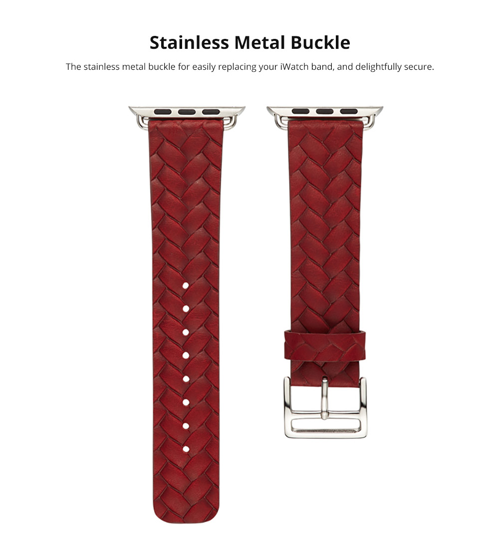 Genuine Leather Watch Band with Stainless Metal Buckle for Apple iWatch, Superior Weave Surface Real Leather iWatch Replacement Strap 38mm 42mm 11