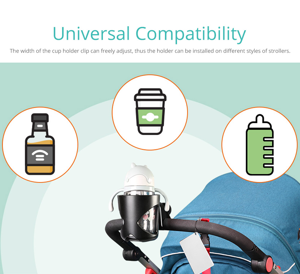 Stroller Accessories Superior ABS Anti-slid Adjustable Universal Stroller Cup Holder Baby Bottle Organizer Compatible with Baby Stroller 8