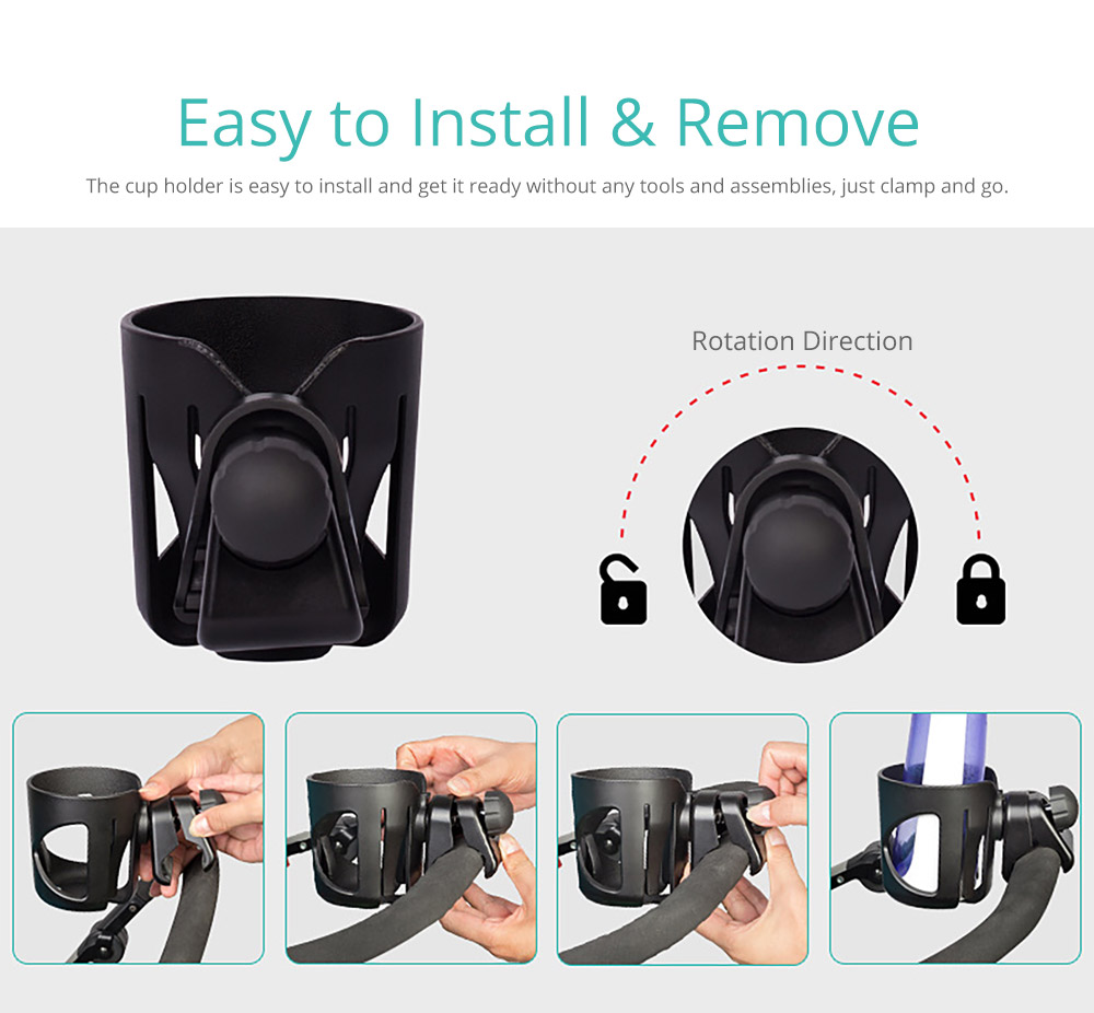 Stroller Accessories Superior ABS Anti-slid Adjustable Universal Stroller Cup Holder Baby Bottle Organizer Compatible with Baby Stroller 10