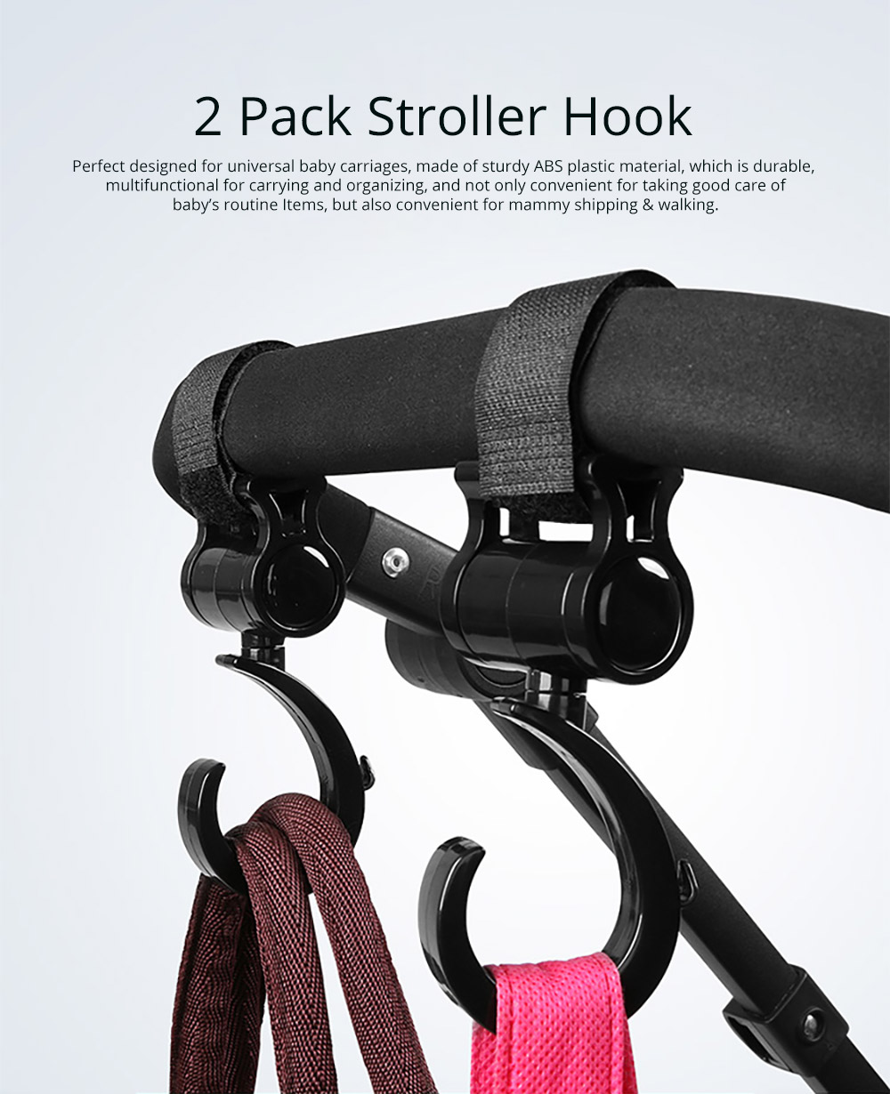 Universal Stroller Hanger Oversized Hook Compatible for Shipping Bags, Baby Carriages, Stroller Accessories 2 Pack Durable Stroller Organizer Clip for Shipping or Walking 5