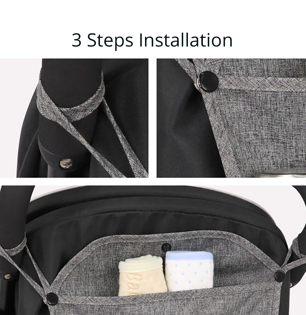 Baby Stroller Organizer Bag, Foldable Linen Stroller Travel Organizer Bag with Multiple Compartments 13