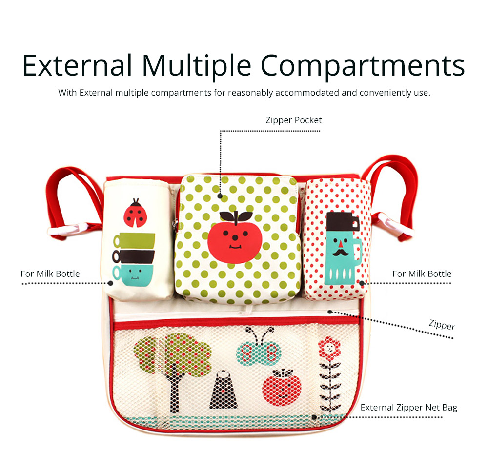 Durable Stroller Organizer Bag for Shopping or Walking, Universal Multipurpose Portable Stroller Organizer Bag with Multiple Compartments Compatible for Baby Carriages 9