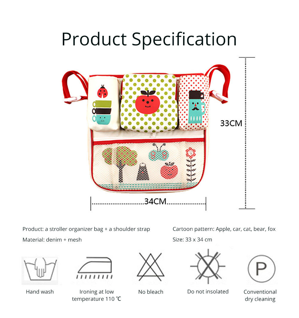 Durable Stroller Organizer Bag for Shopping or Walking, Universal Multipurpose Portable Stroller Organizer Bag with Multiple Compartments Compatible for Baby Carriages 14