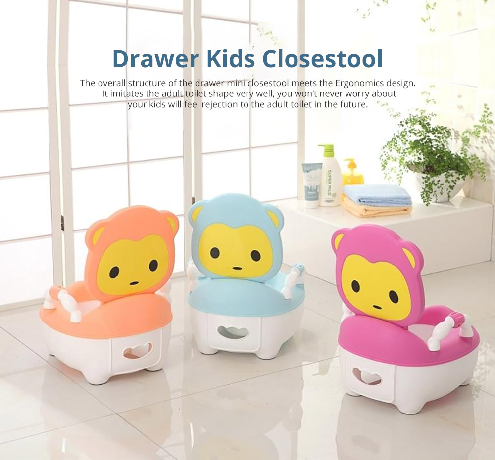 Multipurpose Toilet Training Seat with Soft PU Leather Cushion for Girls Boys Drawer Potty Trianer with Non-slip Mat Sturdy Armrest for 1-8 Years Old Kids Mini Closestool 6