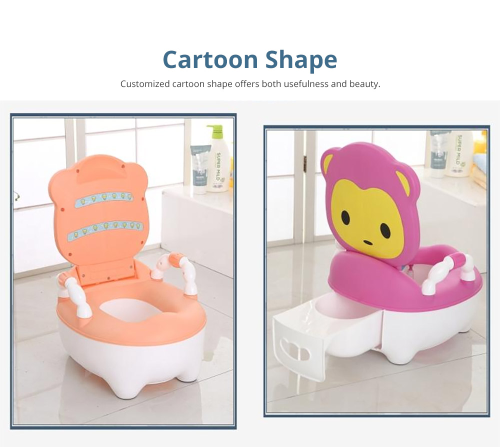 Multipurpose Toilet Training Seat with Soft PU Leather Cushion for Girls Boys Drawer Potty Trianer with Non-slip Mat Sturdy Armrest for 1-8 Years Old Kids Mini Closestool 13