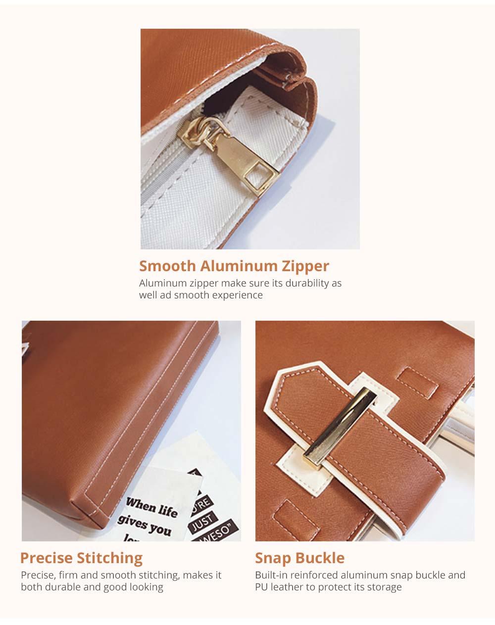 Women's Shoulder Bag with Smooth Aluminum Zipper