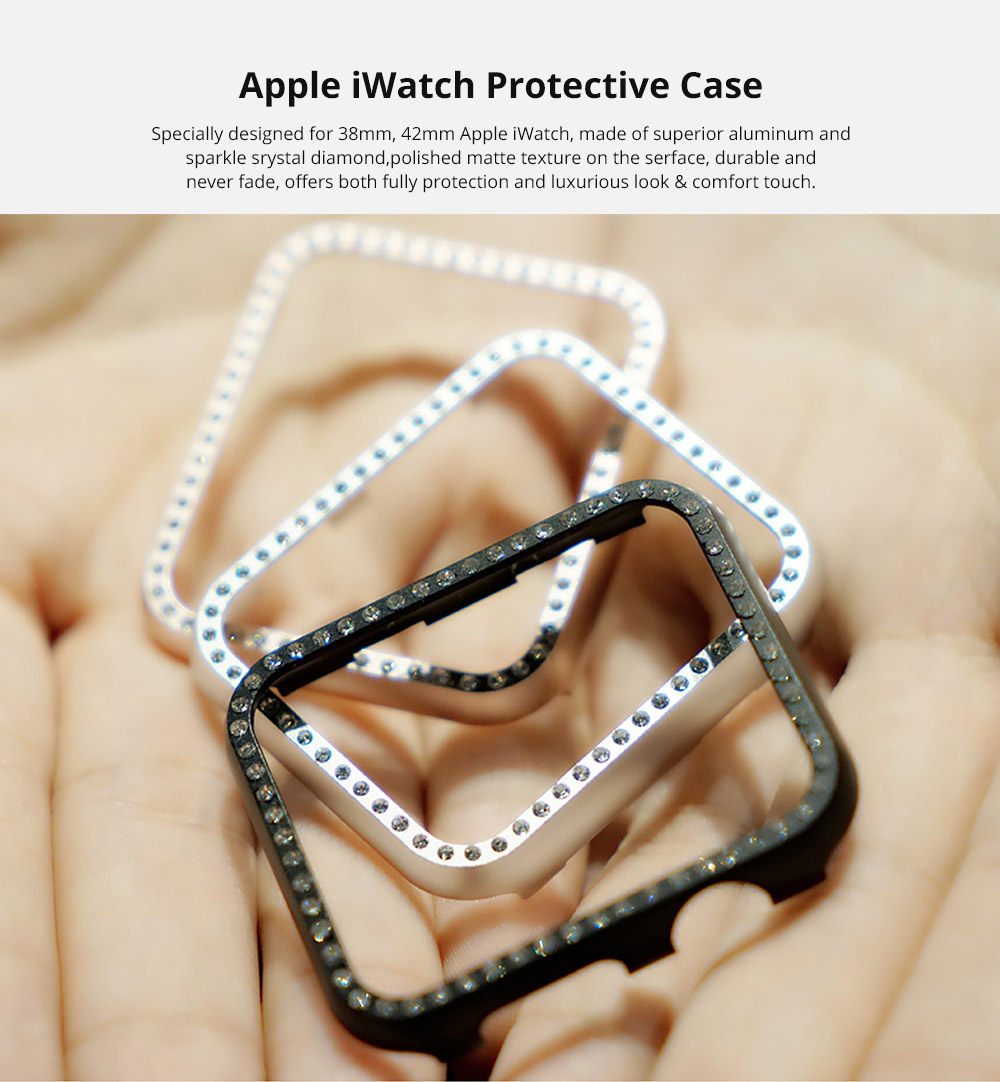Aluminum Protective Cover with Sparkle Crystal Diamond Compatible with Apple iWatch, Hard Shell Anti-impact Anti-Scratch Case for Apple iWatch Protective Frame 38mm 42mm  6