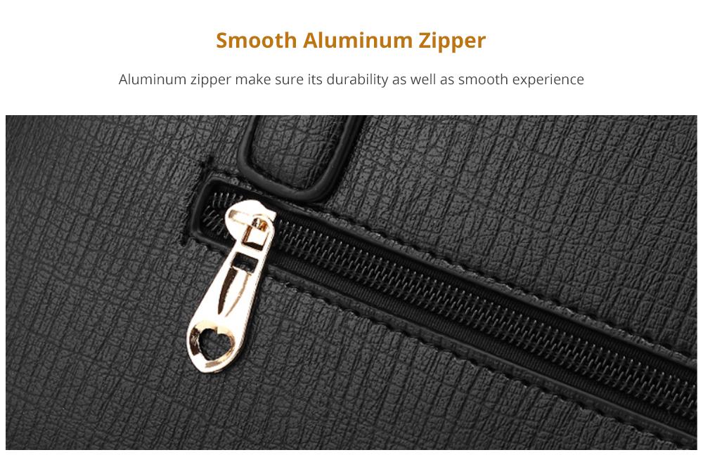 Sleek Women's Handbag with Smooth Aluminum Zipper