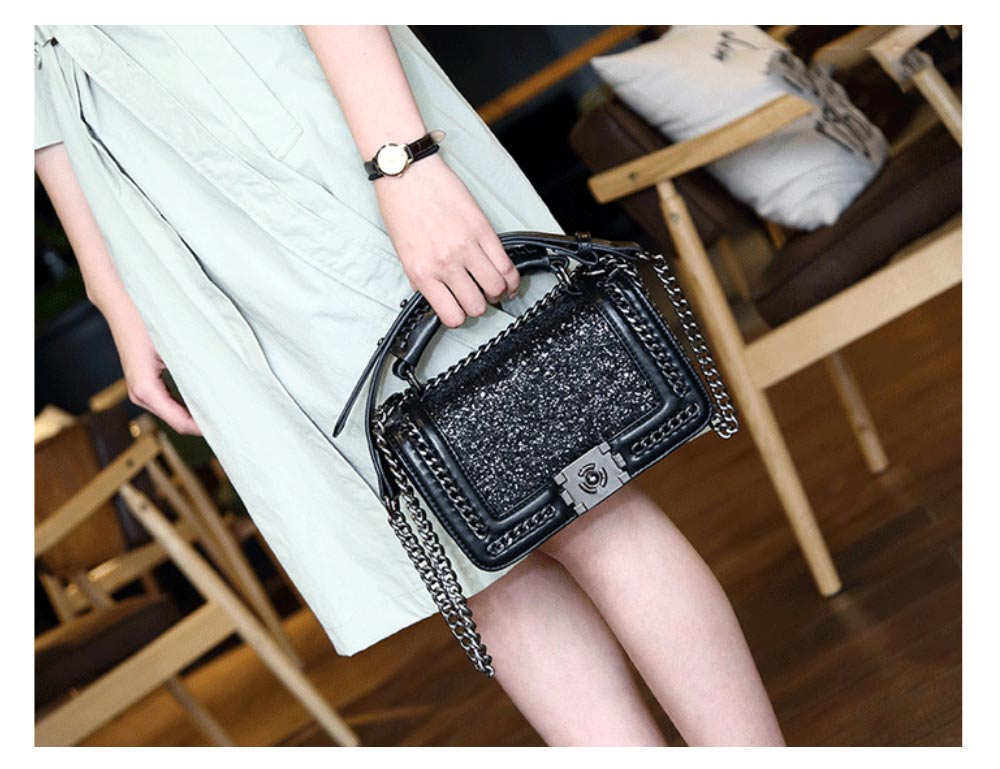 Elegant Bling Handbag with Removable Shoulder Strap Crossbody Bag