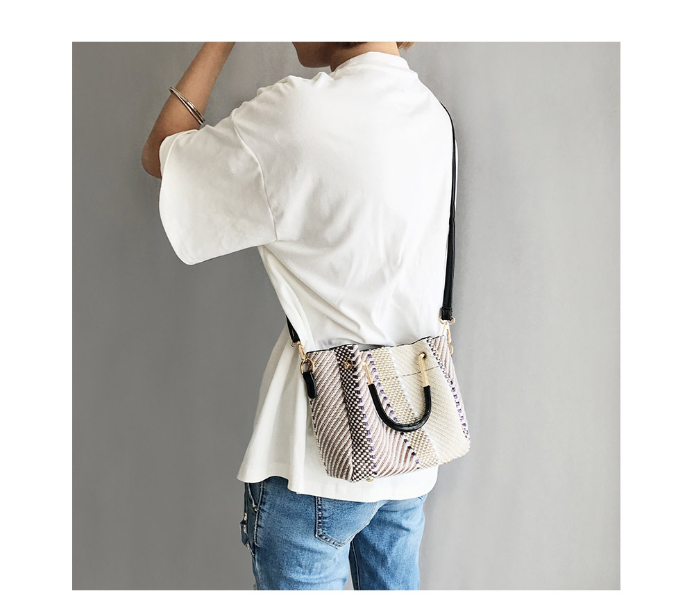 Sleek Color Blocking Weave Crossbody Bag