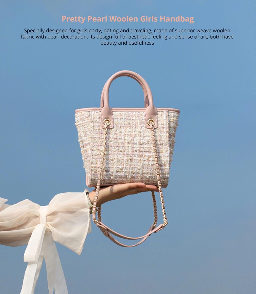 Pretty Pearl Woolen Girls Handbag