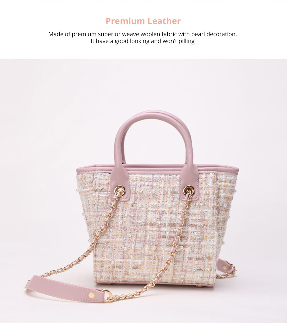 Elegant Girls Handbag with Pearl Decoration Sleek Weave Women's Bag with Metal Shoulder Strap Woolen Crossbody Bag for Women 8