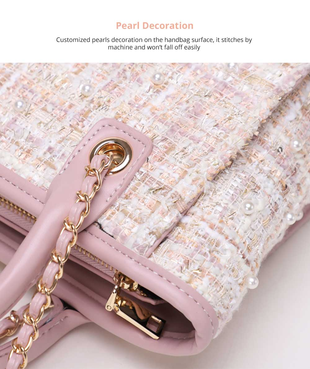 Elegant Girls Handbag with Pearl Decoration Sleek Weave Women's Bag with Metal Shoulder Strap Woolen Crossbody Bag for Women 9