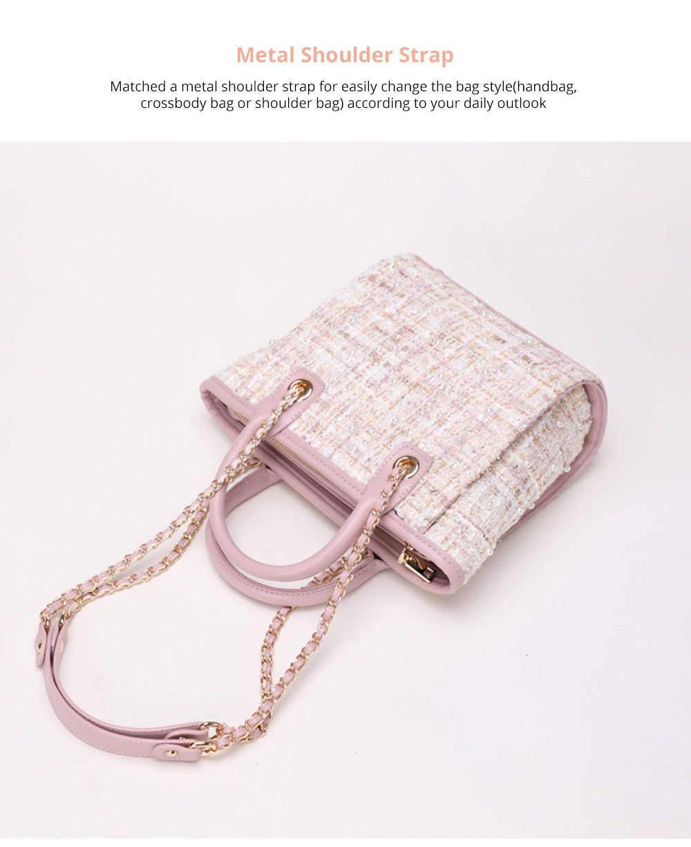 Elegant Girls Handbag with Pearl Decoration Sleek Weave Women's Bag with Metal Shoulder Strap Woolen Crossbody Bag for Women 10