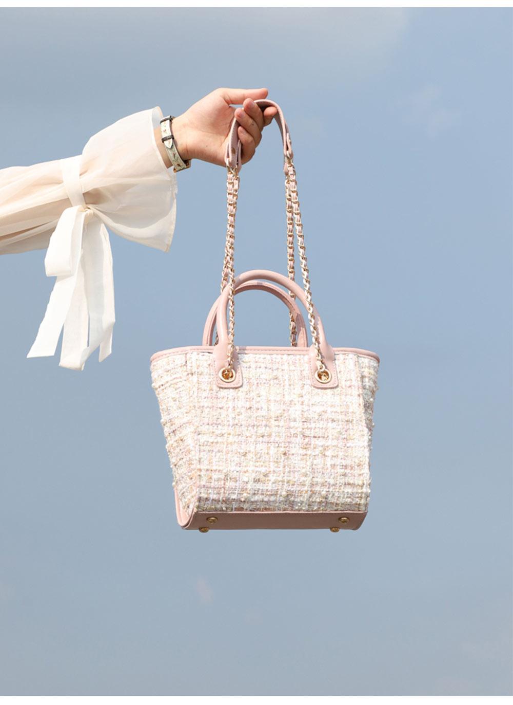 Sleek Weave Women's Bag with Metal Shoulder Strap