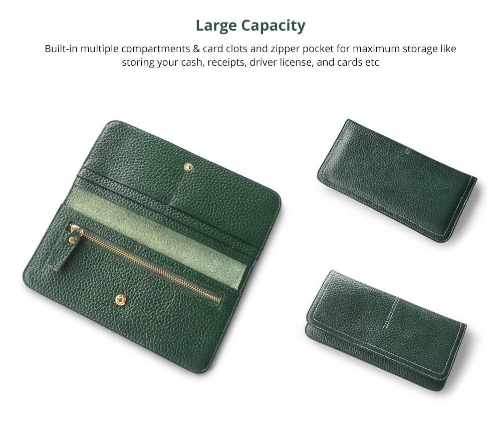 Women's Wallet with Multiple Compartments Card Slots Zipper Pocket, Lightweight Slim Sleek Women's Purse Grain Texture Soft Vintage Purse 7
