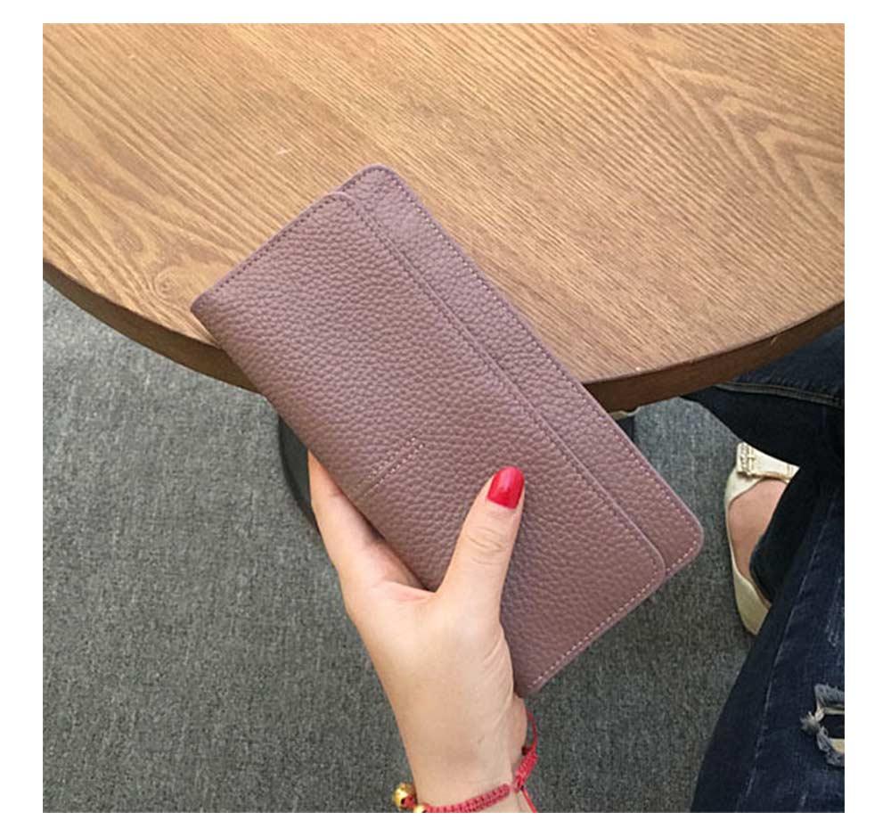 Women's Wallet with Multiple Compartments Card Slots Zipper Pocket, Lightweight Slim Sleek Women's Purse Grain Texture Soft Vintage Purse 10