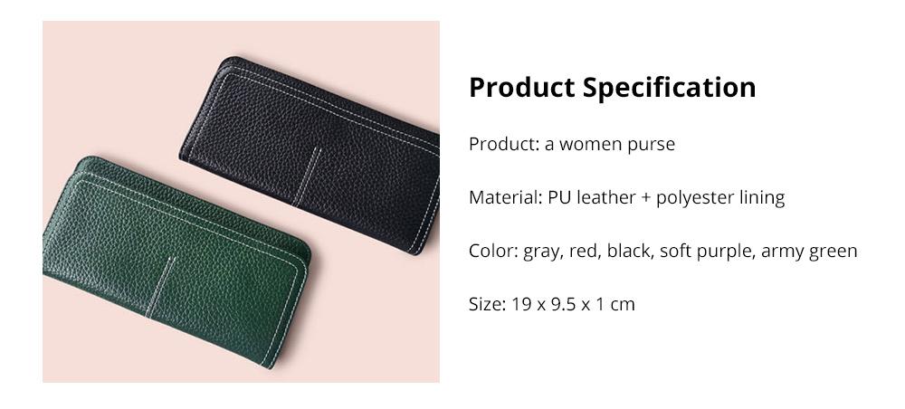 Women's Wallet with Multiple Compartments Card Slots Zipper Pocket, Lightweight Slim Sleek Women's Purse Grain Texture Soft Vintage Purse 15