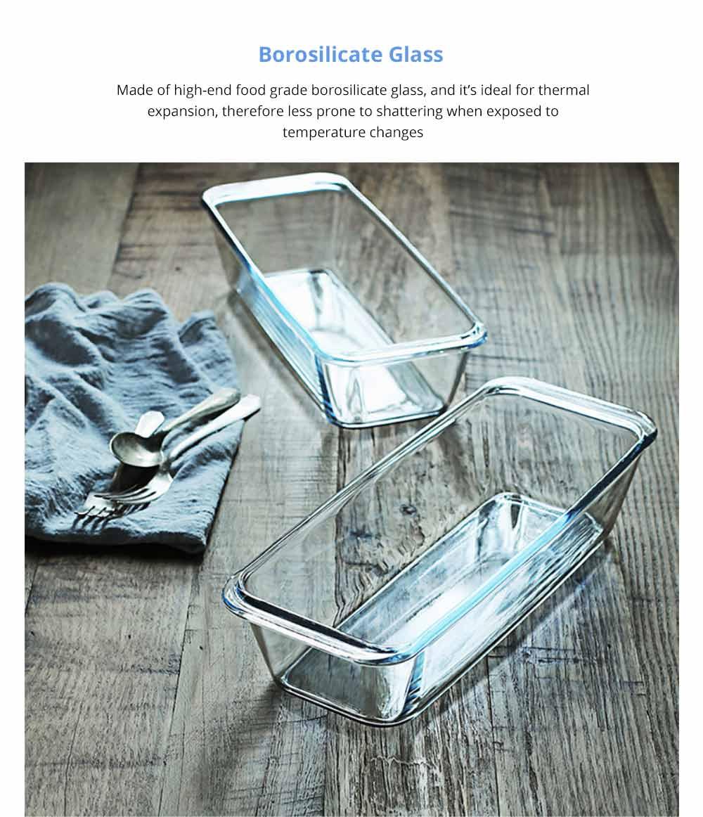 Nonstick Bakeware Glass Toast Pan, Kitchen Essential Premium Food Grade Borosilicate Glass Baking Dish for Toast Cake Baked Rice 6