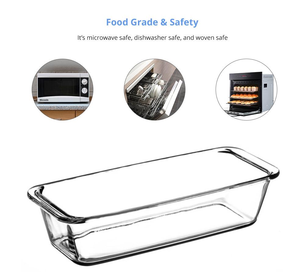 Nonstick Bakeware Glass Toast Pan, Kitchen Essential Premium Food Grade Borosilicate Glass Baking Dish for Toast Cake Baked Rice 10