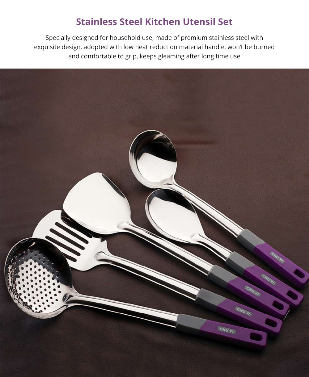 Stainless Steel Kitchen Utensil Set Cooking Spoon Set