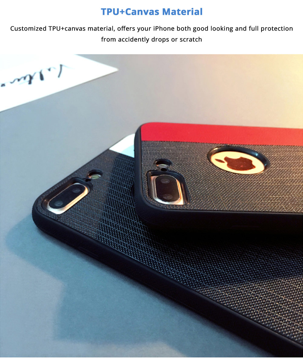 Stylish Ultra-thin Stripe Canvas Phone Case, Creative Durable Slim Phone Cover with Hand Strap Compatible for iPhone X, iPhone 8/Plus, iPhone 7/Plus, iPhone 6/6s/6 Plus/6S Plus 9
