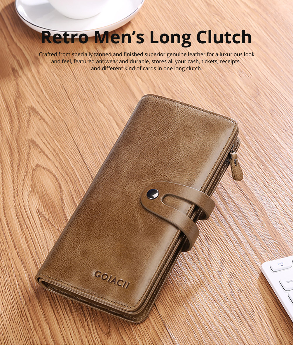 Retro Genuine Leather Men's Wallet with Metal Snap Zipper Pocket, Durable Antiwear Multiple Card Slots Universal Men's Clutch 6