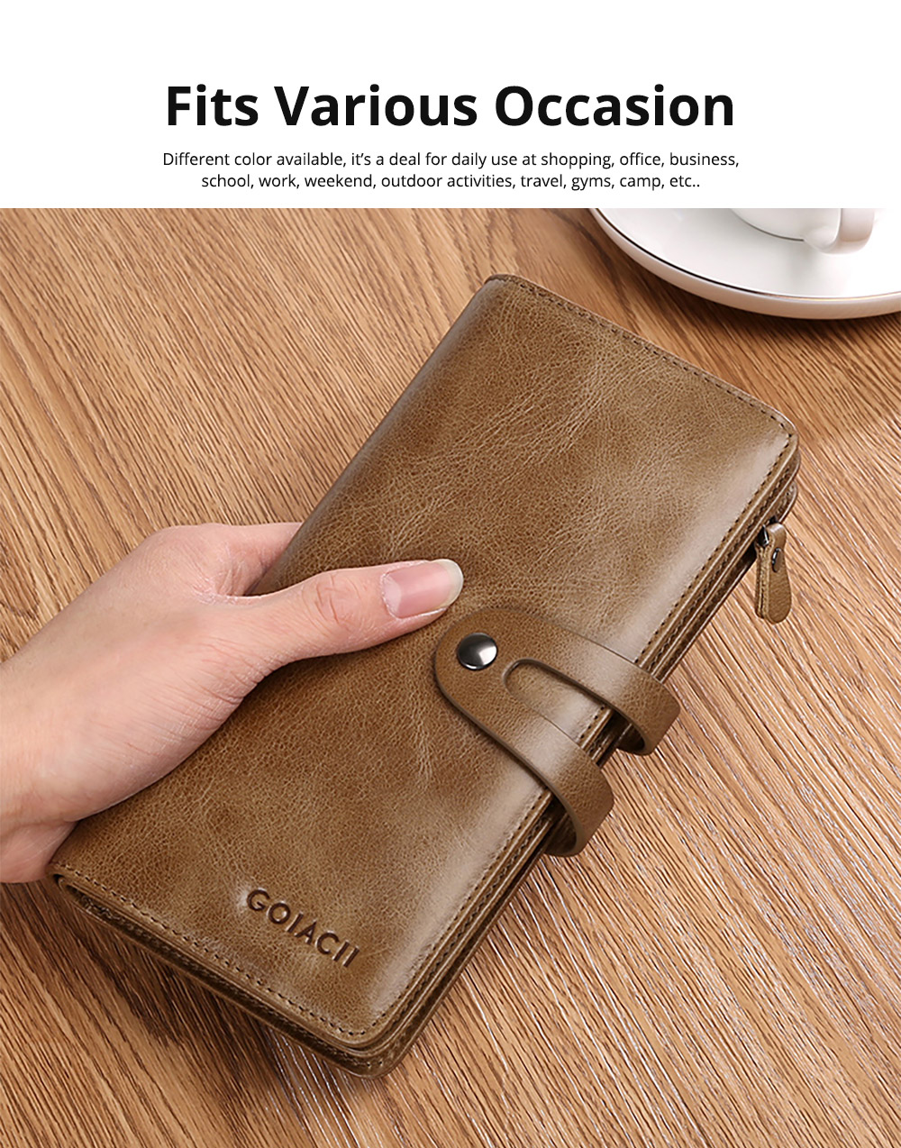 Retro Genuine Leather Men's Wallet with Metal Snap Zipper Pocket, Durable Antiwear Multiple Card Slots Universal Men's Clutch 9