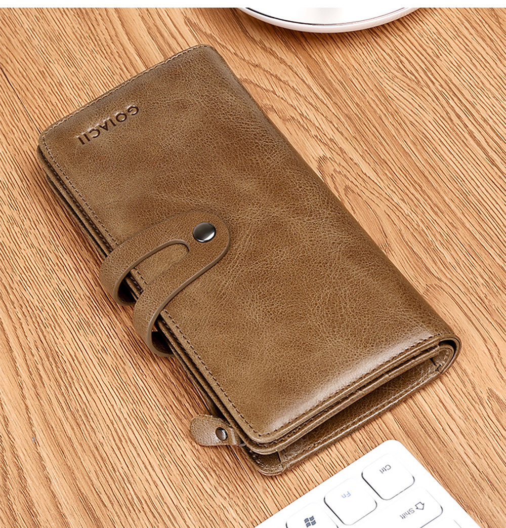 Retro Genuine Leather Men's Wallet with Metal Snap Zipper Pocket, Durable Antiwear Multiple Card Slots Universal Men's Clutch 10