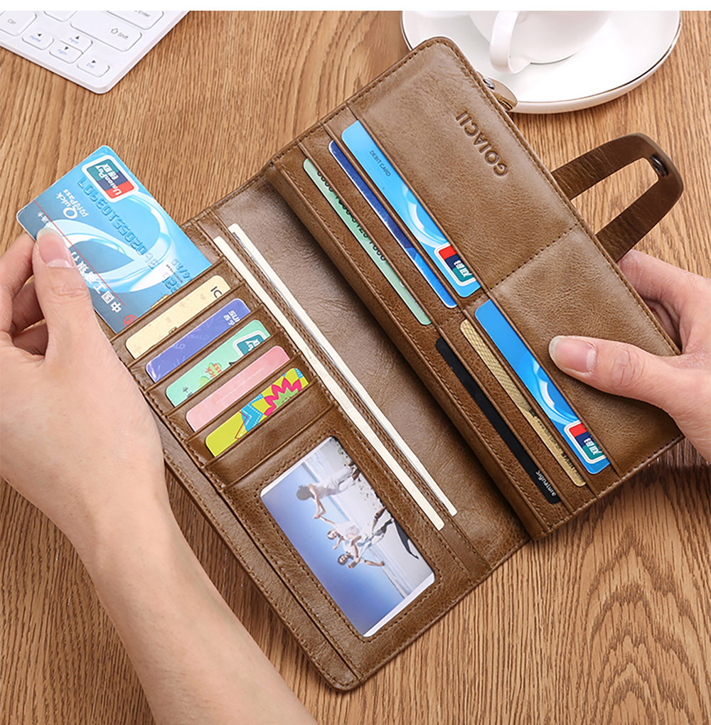 Retro Genuine Leather Men's Wallet with Metal Snap Zipper Pocket, Durable Antiwear Multiple Card Slots Universal Men's Clutch 11