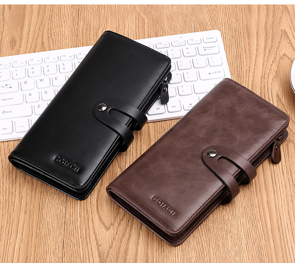 Retro Genuine Leather Men's Wallet with Metal Snap Zipper Pocket, Durable Antiwear Multiple Card Slots Universal Men's Clutch 12