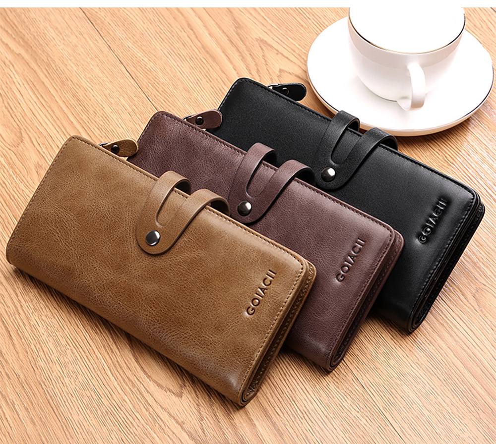 Retro Genuine Leather Men's Wallet with Metal Snap Zipper Pocket, Durable Antiwear Multiple Card Slots Universal Men's Clutch 13