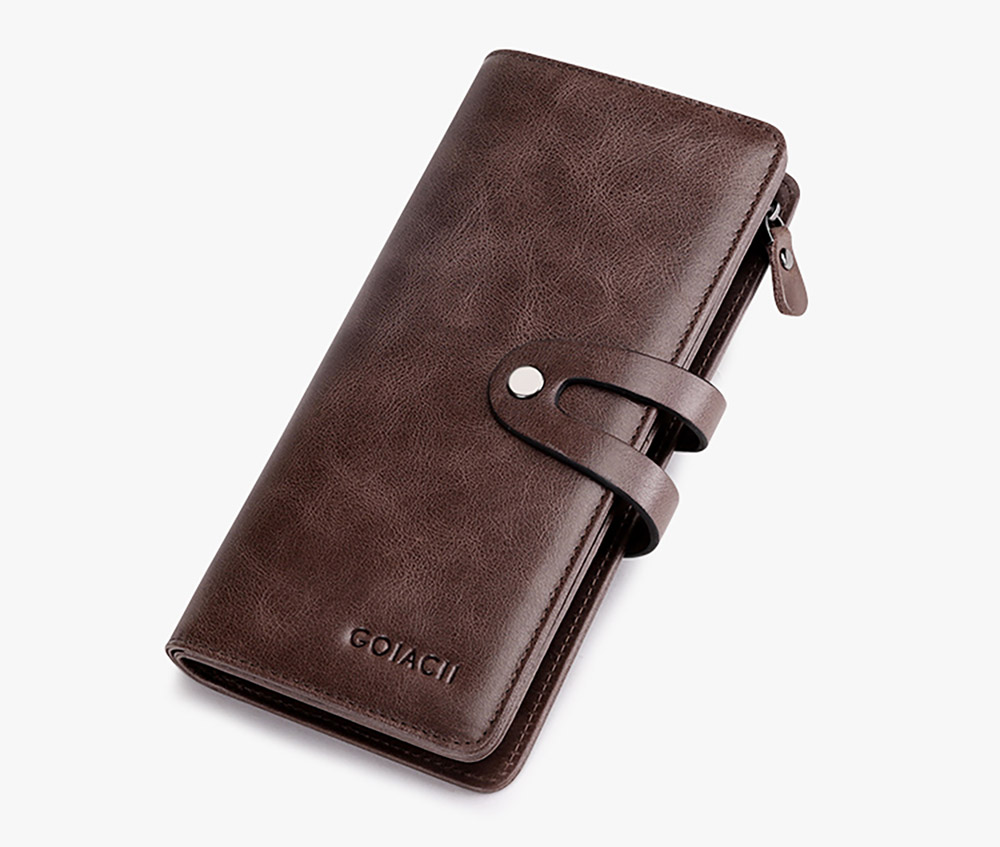 Retro Genuine Leather Men's Wallet with Metal Snap Zipper Pocket, Durable Antiwear Multiple Card Slots Universal Men's Clutch 19