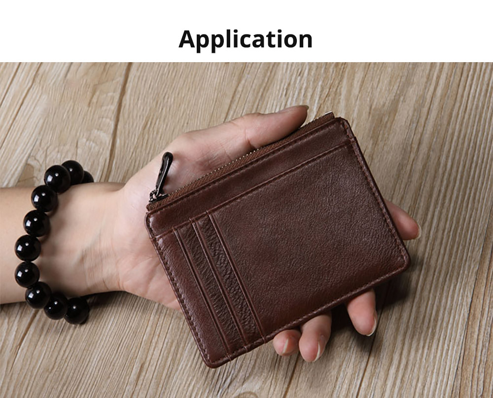 Fashionable Thin Genuine Leather Men's Wallet with Multiple Compartments Card Slots