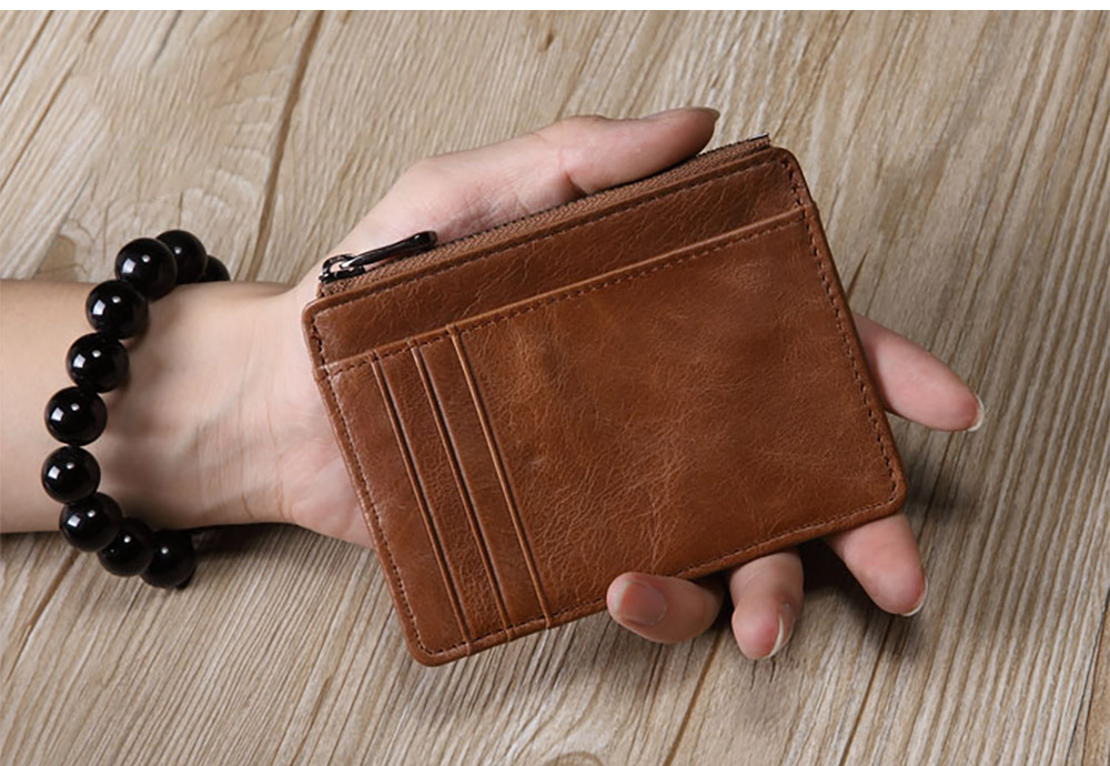 Thin Genuine Leather Men's Wallet with Multiple Compartments Card Slots