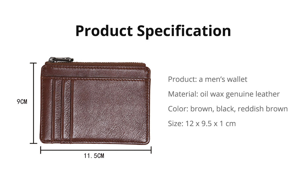 Fashionable Lightweight Thin Genuine Leather Men's Wallet with Multiple Compartments Card Slots