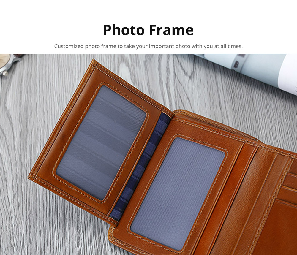 Handmade Men's Leather Wallet, Durable & Lightweight, Oil Wax Genuine Leather Folio Purse with Photo Frame 11